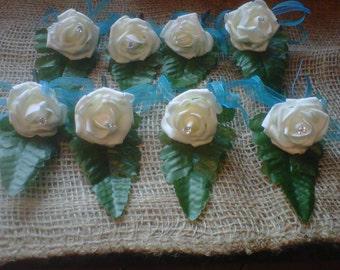 8 X wedding buttonholes .luxury organza ribbon