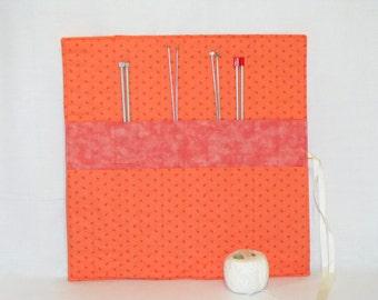 knitting organizer, knitting needle roll, knitting needle holder, needle storage, peach cotton fabric