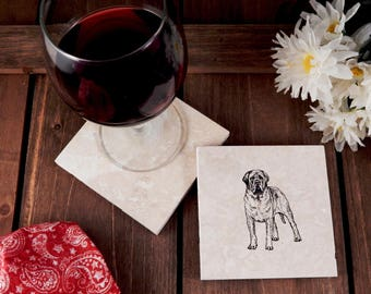 Set of 4 Mastiff Travertine Stone Coasters