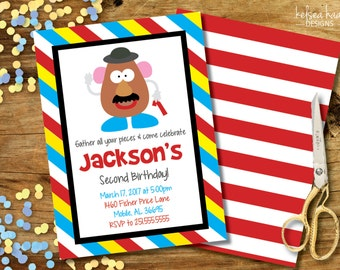 Mr. Potato Head Invitation,  Personalized, Digital Printable, 5x7 Invitation, DIY, Mr. Potato Head Birthday Party, Toy Story Party