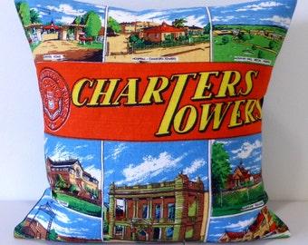 Charters Towers Cushion Cover Queensland Pillow Australian Places Australiana Repurposed Tea Towel Cushion Gold Rush