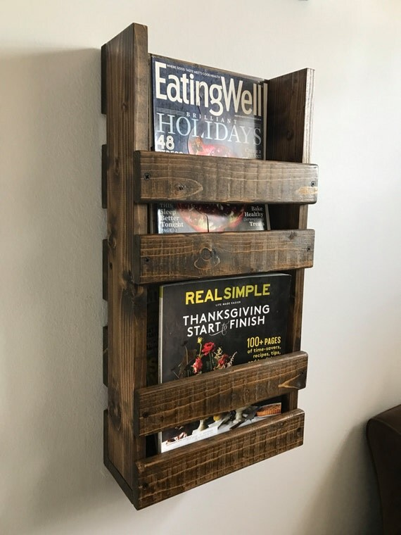 rustic magazine rack shelves wood wall mounted hanging storage mount target white bathroom wooden