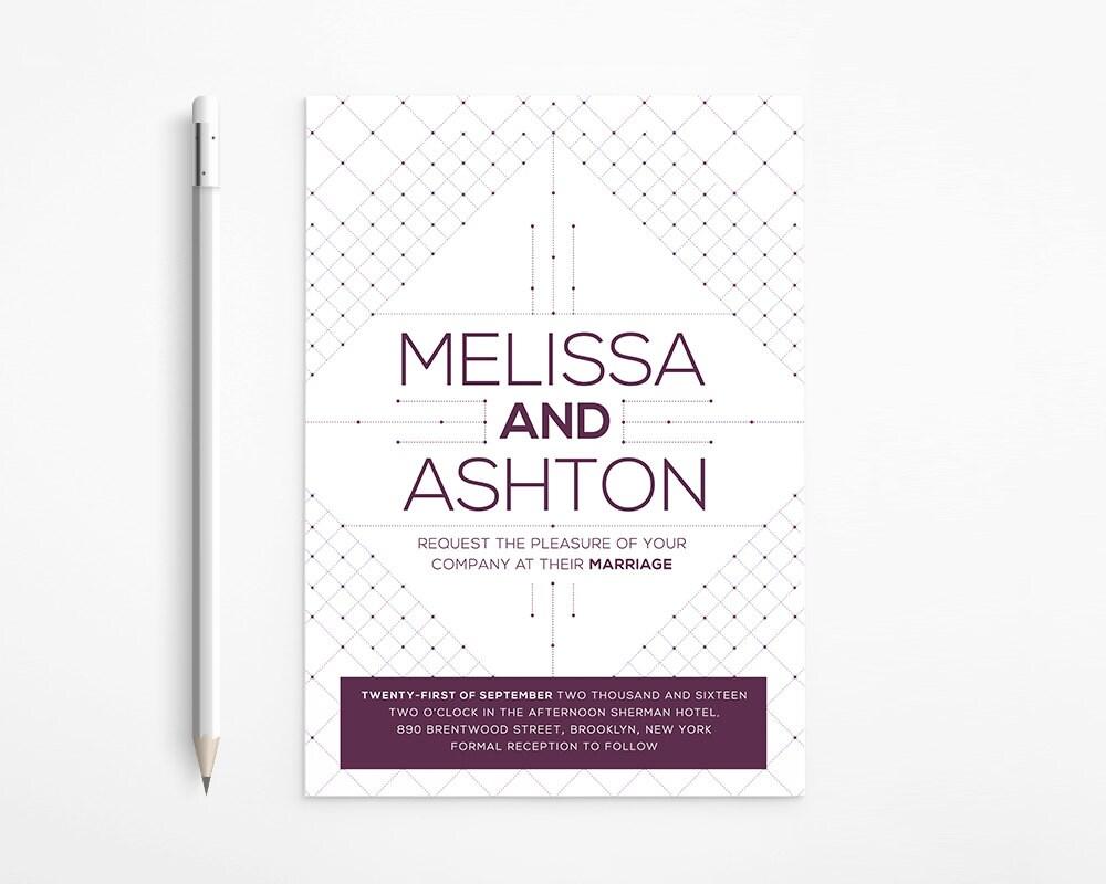 PRINTABLE Geometric Purple Wedding Invitation Modern Art