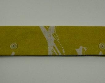 Large needle case, dpn case, dpn holder, needle holder or sock holder - Mustard Planes Echino