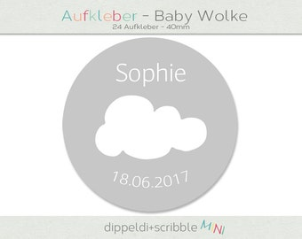 Sticker baptism baby cloud