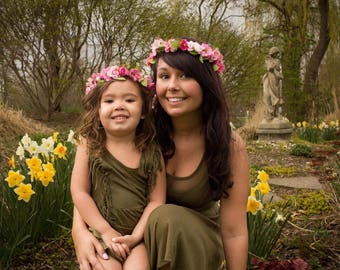 Mommy and Me Small Flower Crown, Floral crowns, flower crowns, flower halos, paper flower crowns,