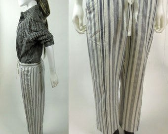 90s cropped low slung drawstring waist black and white striped pants trousers