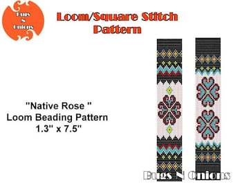 Native Rose, Loom Beading Bracelet Pattern, Looming Pattern, Bead Looming, Bracelet Pattern, Instant Download