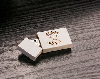 Set of 50 Wedding White 2.0 USB Flash Drive - Personalized Custom Wood  USB Flash Drive - Laser Engrave your own design!