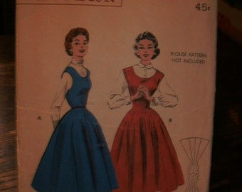 Butterick Printed Pattern ~ Butterick 7048 ~ Size 16 Bust 34 ~ 1954 Quick & Easy Princess Jumper: Scoop Neck