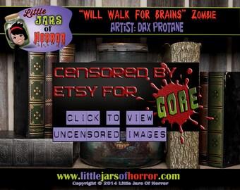 Zombie  'Head in Jar' Monster Halloween Decor / Haunted House Prop  - Walking Dead, Sci-Fi, Pop Culture, Undead, Scary / Horror Art