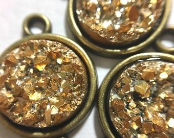 Gold Druzy Beads with 2 Holes, Faux Druzy Connector Beads, gold druzy, druzy bracelet, druzy bangle, gold bracelet, gold jewelry, gold bead