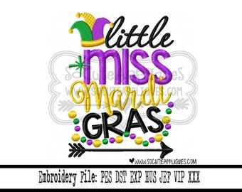 Mardi gras Embroidery design 5x7 6x10 LIttle Miss Mardi Gras Embroidery saying, NOLA embroidery, socuteappliques, Fat Tuesday beads