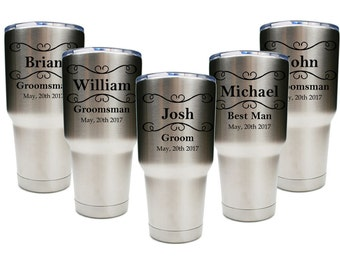 Groomsmen Tumblers, 30 oz. Groomsmen Gift, Custom Engraved 30 oz. Tumblers, ANY QUANTITY