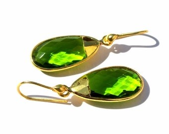 24k Gold Electroplated Peridot Quartz Bezel Set Earrings, Gemstone Earrings, Electroformed earrings, handmade earrings, Bridal Earrings