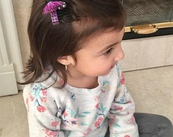 purple hair clip, butterfly hair piece, girls hair,  Accessories, hairclips, girls hair combs, purple butterfly, baratte,metal hair comb