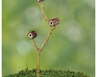 Fairy Garden  - Triple Birdhouse - Miniature