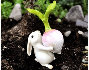 Fairy Garden  - Bunny With Turnip - Miniature