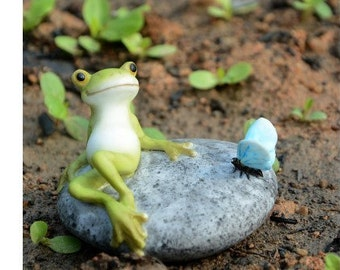 Fairy Garden  - Frog Resting On Stone With Butterfly - Miniature