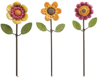 Fairy Garden  - Flower Pick - Set of 3 - Miniature