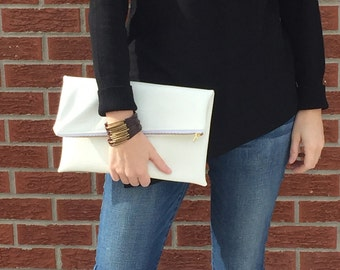 White Vegan Leather Foldover Clutch