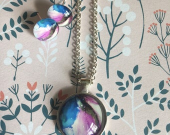 Marbling ink pattern pendant necklace