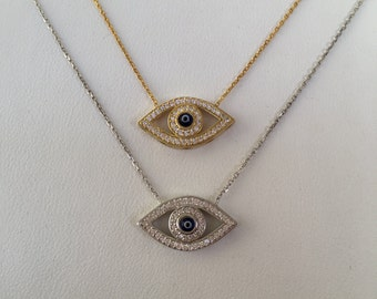 evil eye cz necklace in Real Sterling Silver and Real Cubic Zirconia, price to grab,