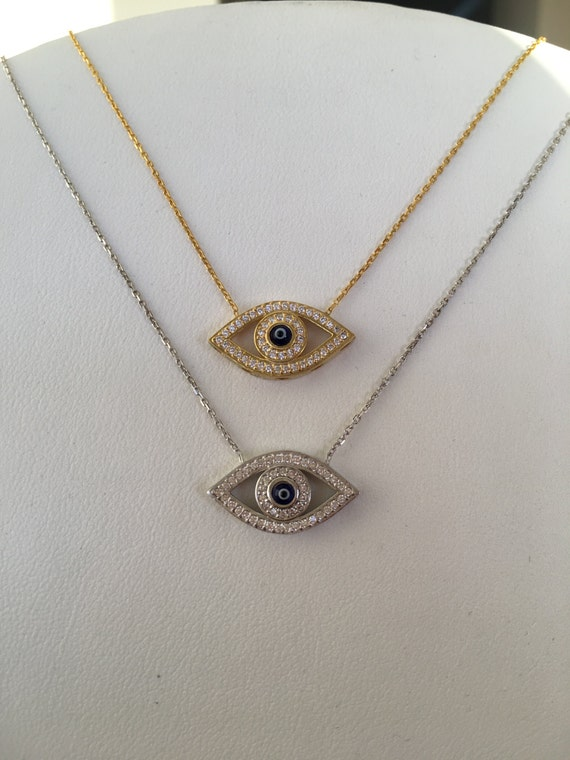 evil eye necklace SUPER SALE Real Sterling Silver and Cubic Zirconia