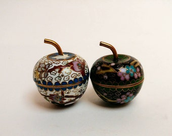 Vintage cloisonne apple set