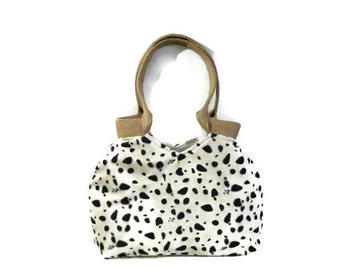 Fashion Dalmatian faux fur tote bag, fake fur handbag, trendy shoulder bag, animal print bag, trendy tote bag, trendy cool handbag