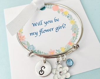 Will you be my flower girl, Flower Girl Bracelet, Flower girl gift, flower girl jewelry, Personalized flower girl bracelet