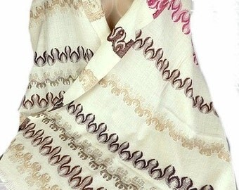 ETHNIC PASHMINA wool shawl Brown ecru ethnic stole scarf shawl stole LJ19