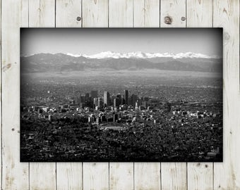 Aerial Denver Skyline in Black and White | Instant Download Photography | Printable in Various Sizes: 5x7, 8x10, 11x14