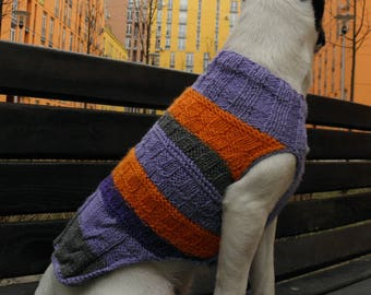 Orange and Purple Stripes dog's Sweater, Hand Knitted Dog Sweater, Orange and Purple Mix, Knit wear for dog, Sleeveless Bright Sweater