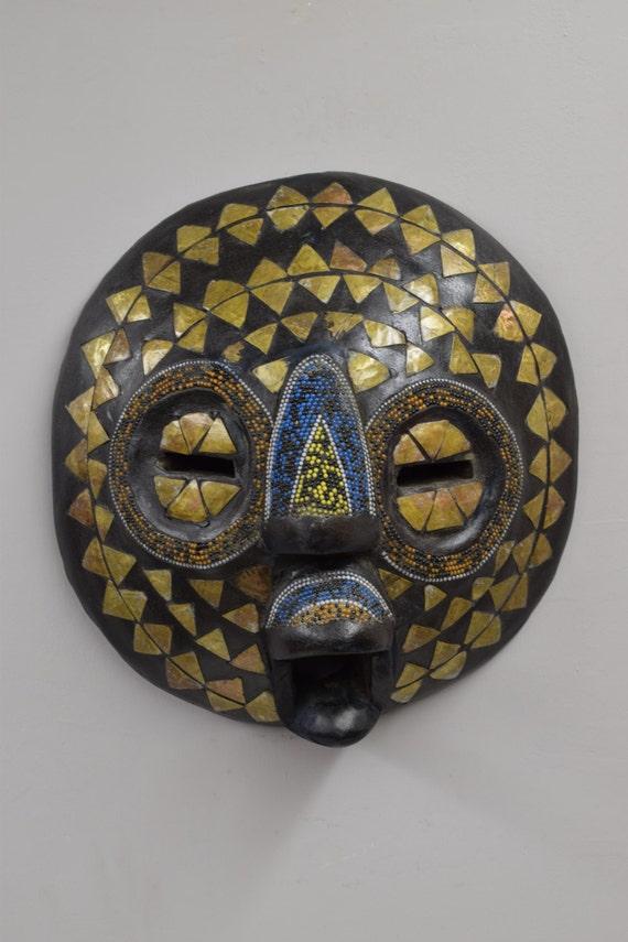 Mask African Baluba Wood Brass Yellow Black Blue Beaded Mask Luba Handmade Mask Ceremonial Spiritual Mask Unique Statement