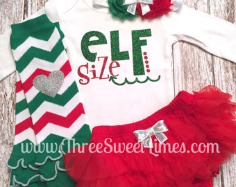 Baby Girl Christmas Outfit | Elf Size | Toddler Baby's First Christmas | Leg Warmers Headband| Red Green Holiday Set