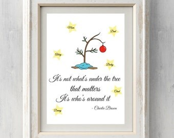 Personalized Charlie Brown Christmas Print. It's not what's under the tree that matters, it's what's around it. All Prints BUY 2 GET 1 FREE!