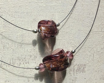 Lampworked necklace - Lampworked bead - Murano Glass - Transparent purple glass - Avventurine Beads