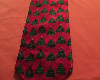 Hallmark Christmas Necktie for Men Made in the USA of 100% Silk; Necktie Featuring Christmas Trees;