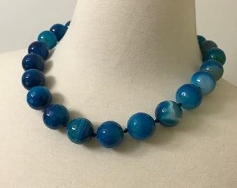Gorgeous Vintage Turquoise Blue Faceted Quartz Necklace