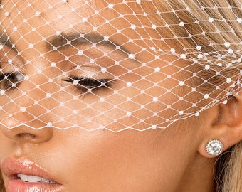 Pearl Headpiece, Birdcage Veil, Bridal Veil, White, Pearl, Wedding Veil