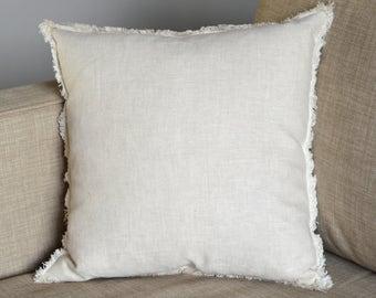 Linen Frayed Pillow Cover, Fringe Pillow, Natural Throw Pillow, Decorative Pillow, Fringe Pillow, Toss Cushion