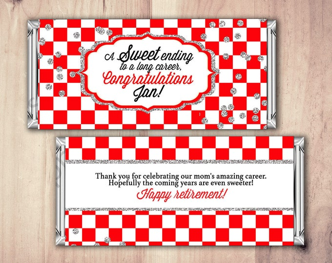 Retirement Candy Bar Wrapper, Printable Digital File,Candy Bar, purple stripes, retirement party, party favor, gift, thank you, checker