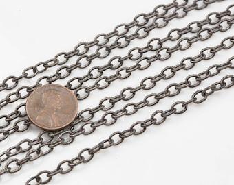 4.8*6mmmm Sterling Silver Screw Oval Texturized Chain- Heavy Links- Oxidized