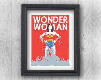 Wonder Woman: Clay, DCEU, DC Comics, Justice League, Superman, Batman, superheroes | Minimalist Pop Art | Canvas Wall Decor