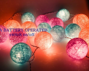 LED Battery 20 Cotton Ball String Lights AA Battery Operated, Wedding Light, Patio Party, Fairy, Outdoor  - Pink Blue Purple Pastel