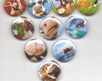 Cows Diary Set of 10 Pins Button Badge Pinback Cute Set