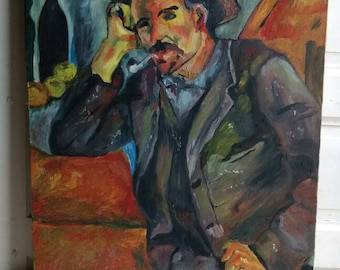 Large French vintage reproduction of Paul Cezanne impressionist-painting titled Smoker.