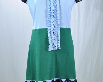 Upcycled cotton blends lace trim summer dress, M