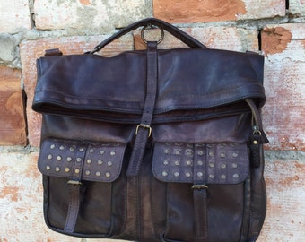 Cowhide leather backpack purse Made in Italy